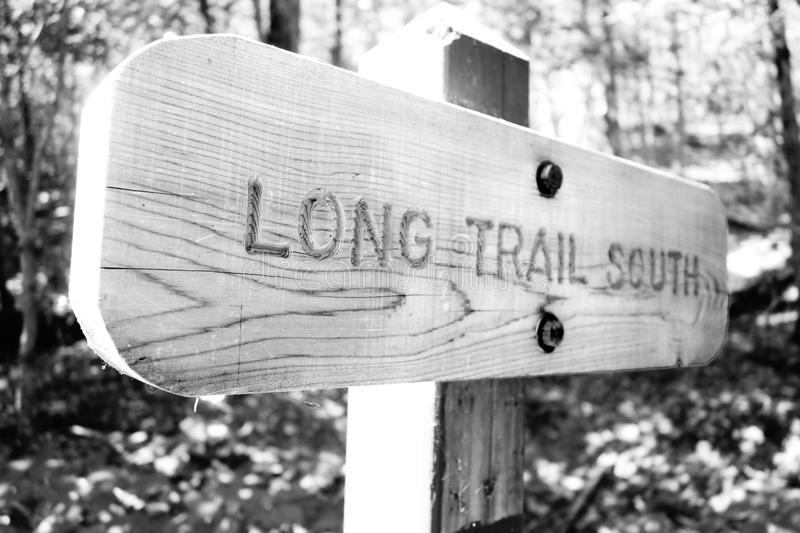 Long Trail South Sign stock photos
