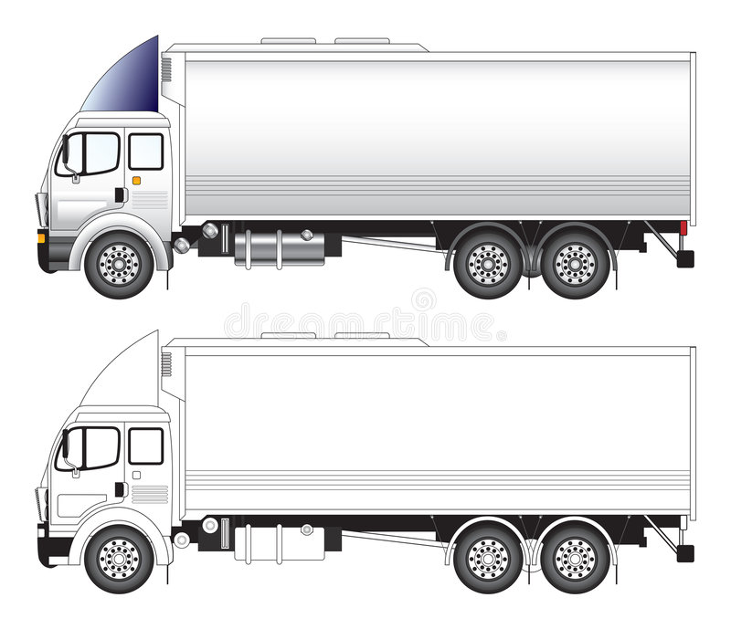 Long truck vector illustration. Side view of a long commercial truck vector illlustration royalty free illustration