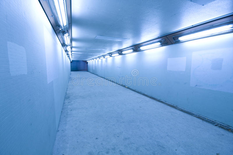 Long Tunnel With Lamps Stock Photography