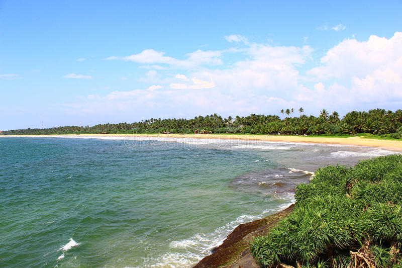 Long, uncrowded beach of Bentota royalty free stock photography