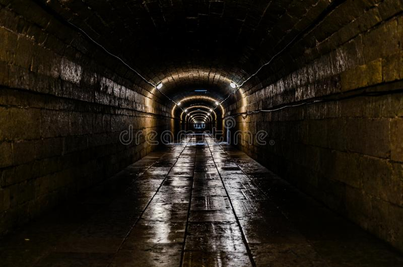 A long underground tunnel stock photography