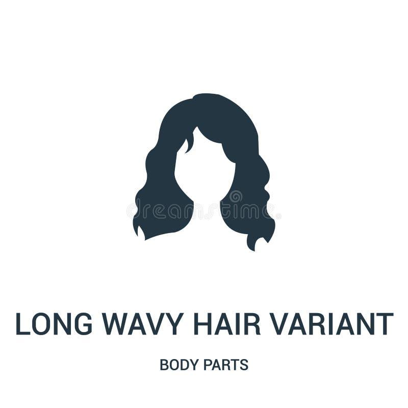 long vecteur variable d'icône de cheveux onduleux de collection de parties du corps Ligne mince longue illustration variable de v illustration de vecteur
