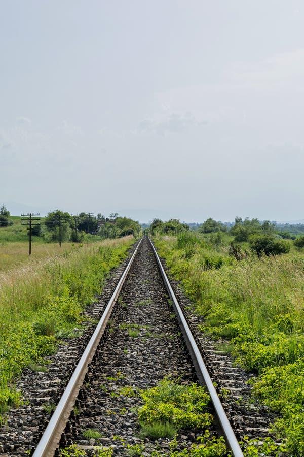 Long vieux chemin de fer dans le domaine disparaissant dans la distance photos libres de droits