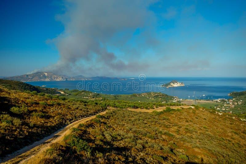 A Long View of the Island of Marathonisi on Zakynthos stock photo