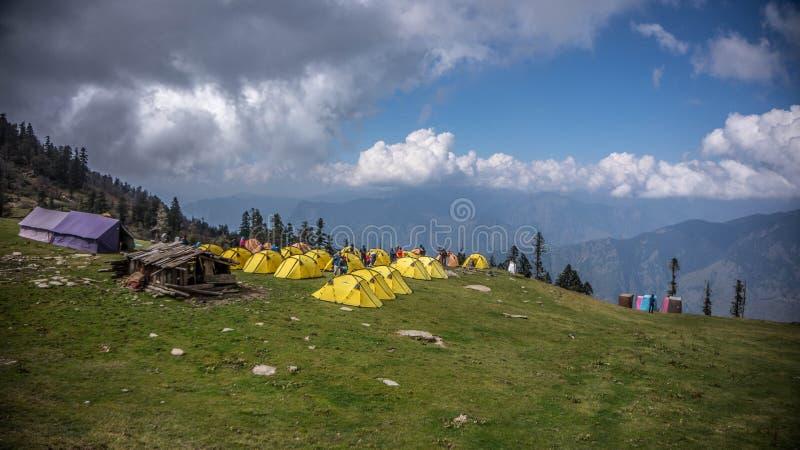 Long View of the Kedarkantha base camp royalty free stock photography