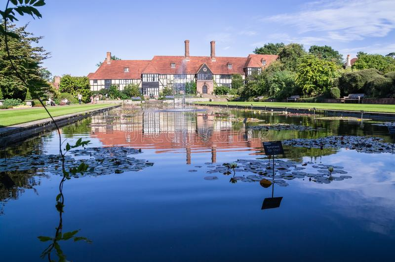 Long view of the laboratory across the Jellicoe Canal at Wisley royalty free stock photos