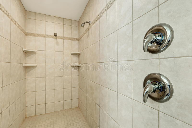Download Long Walk In Shower With Two Shower Heads . Stock Image   Image Of