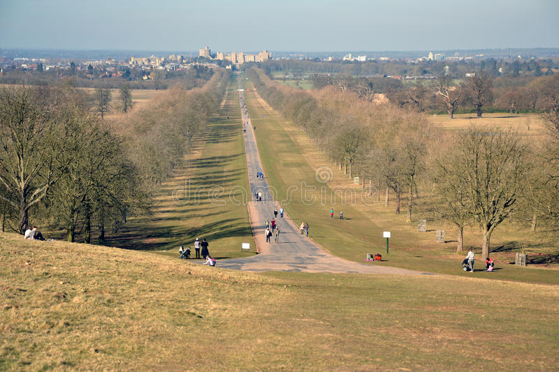 The Long Walk, Windsor Great Park, Windsor Castle, England. The Long Walk, Windsor Castle, England - the avenue located in Windsor Great Park; spectacular view royalty free stock photography