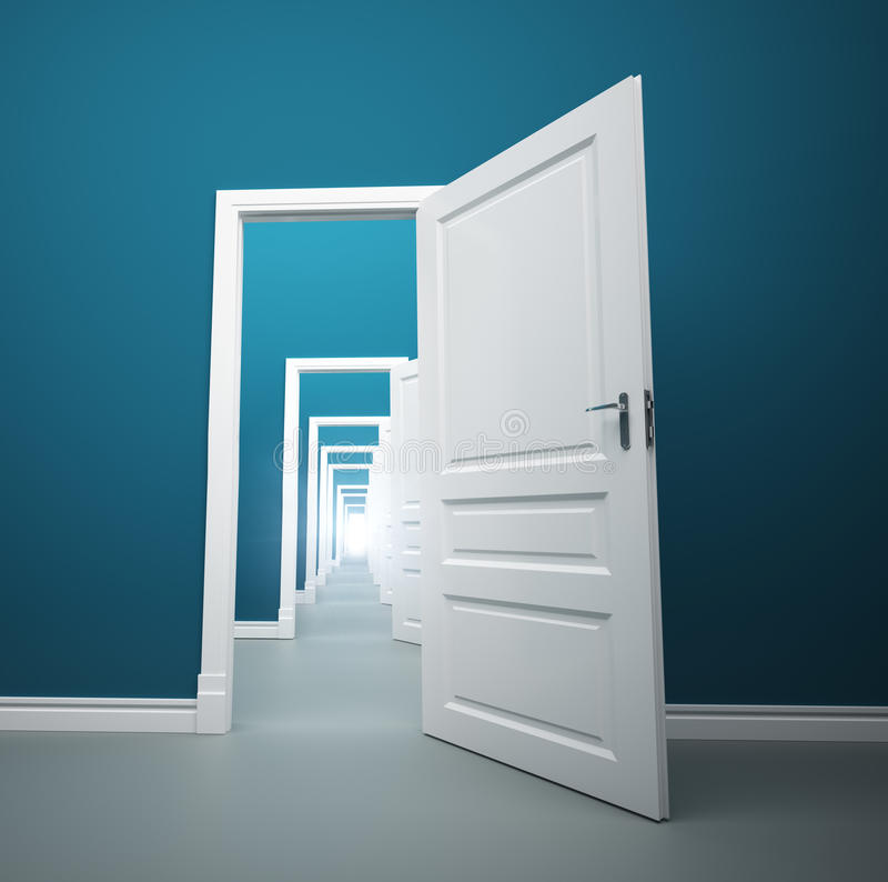 Long way of opened doors stock illustration