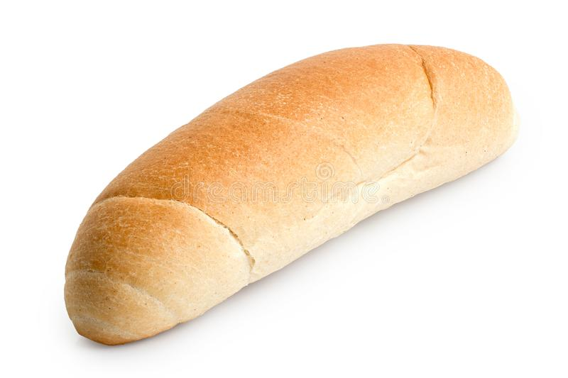 Long white bread roll isolated on white.  stock photo