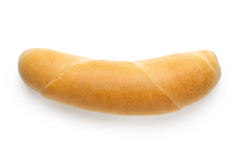 Long white bread roll isolated on white. Top view.  stock photography