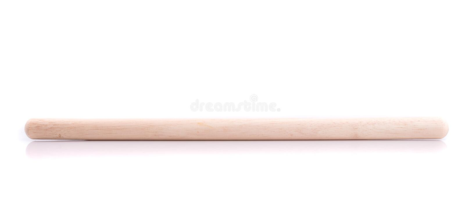 Long white wooden stick use for bakery isolated on white background. Close up long white wooden stick use for bakery isolated on white background royalty free stock image
