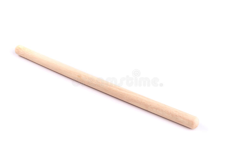 Long white wooden stick use for bakery isolated on white background. Close up long white wooden stick use for bakery isolated on white background stock images