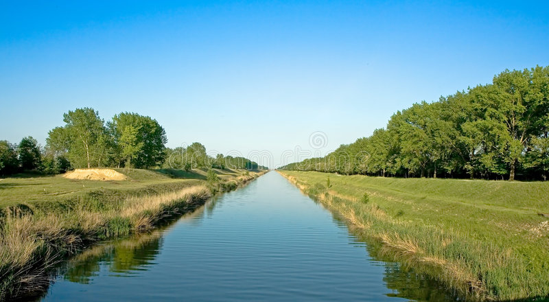 Long wide water canal for watering royalty free stock image