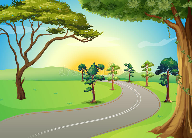 A long winding road at the forest. Illustration of a long winding road at the forest stock illustration