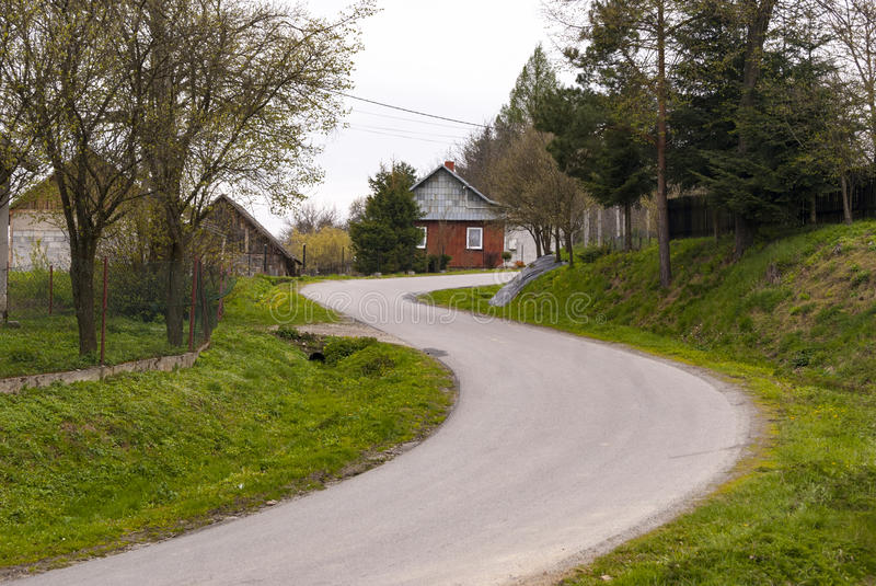 The Long and Winding Road. Winding road in the Poland, colorfull and abstract royalty free stock images