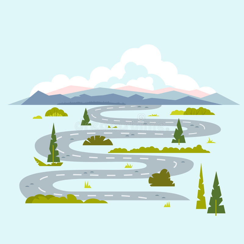 Long Winding Road to Nature. Long winding road through plants and trees to the mountains, journey on nature, travel time stock illustration