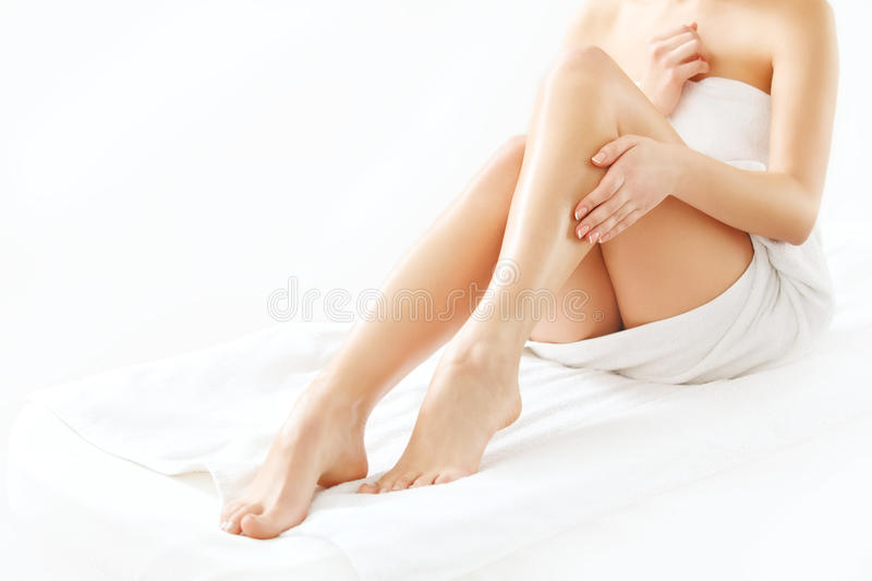 Long Woman Legs isolated on white. Depilation royalty free stock photography