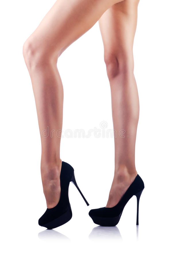 Download Long woman legs on white stock image. Image of glamour - 26373507