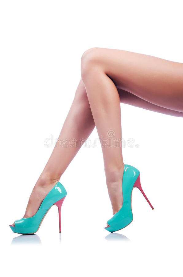 Long Woman Legs  On White Royalty Free Stock Image