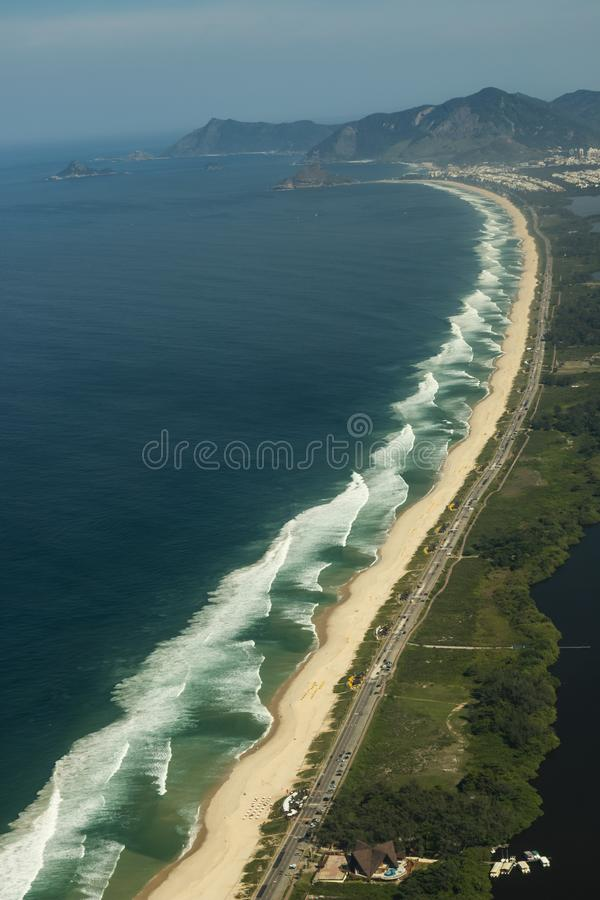 Long and wonderful beaches, Recreio dos Bandeirantes beach, Rio de Janeiro Brazil. South America royalty free stock images