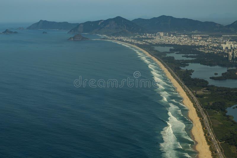 Long and wonderful beaches, Recreio dos Bandeirantes beach, Rio de Janeiro Brazil. South America royalty free stock photo