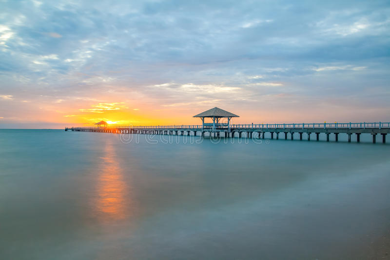 Long wood bridge. At sea in sunset time royalty free stock images