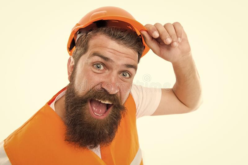 After long working day. Construction industry. Bearded brutal hipster safety engineer. Engineering career concept royalty free stock photos