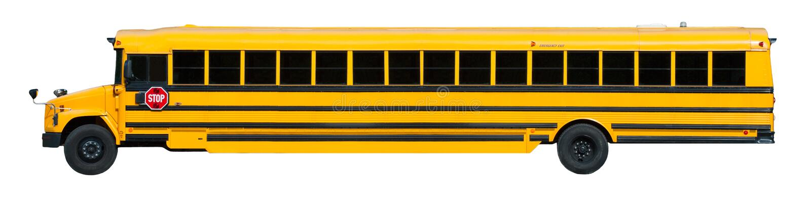 Long Yellow School Bus Banner Isolated on White stock images