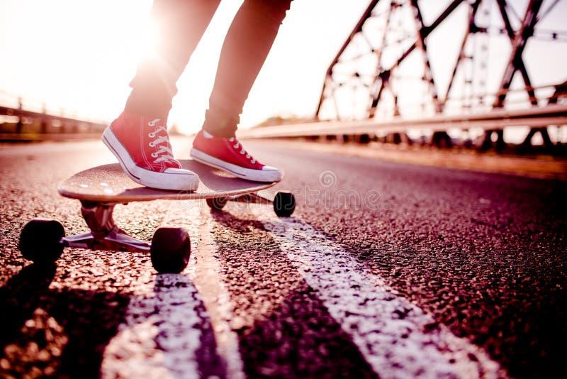 Longboard girl on the street, long board stock images