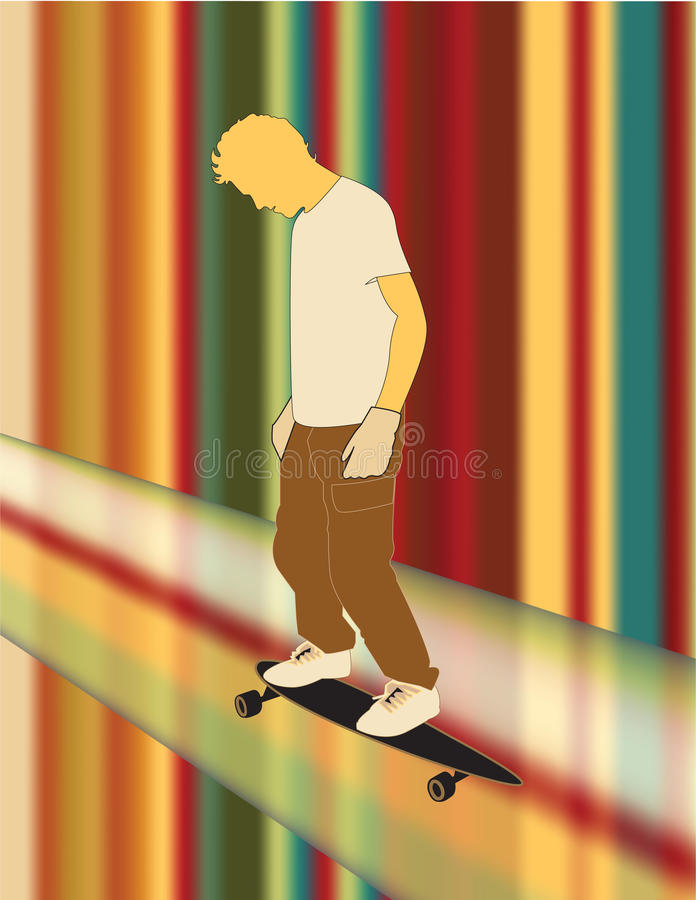 Guy riding longboard on rings of Saturn stock image
