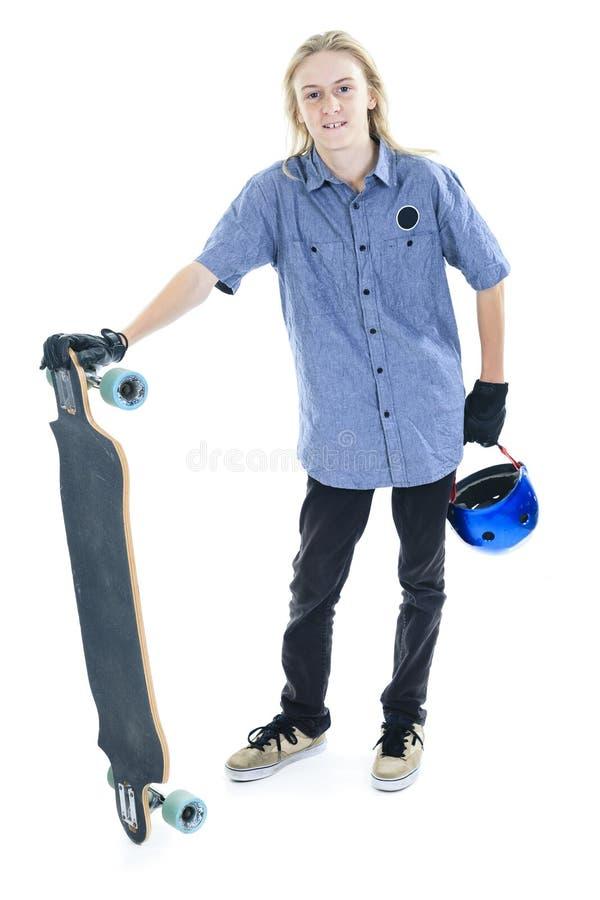 Longboard pojke royaltyfri foto