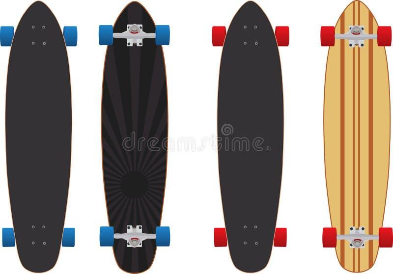 Longboard skateboard. Two different longboard design skateboard royalty free illustration