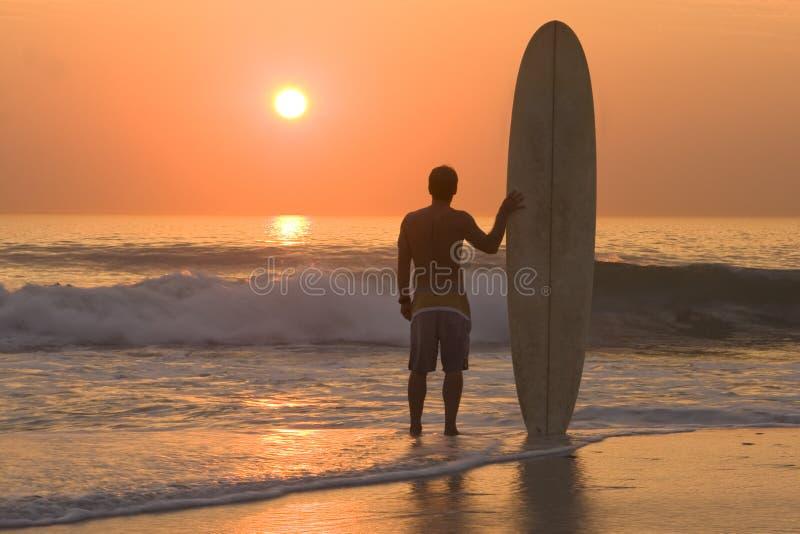 Longboard surfer stock image