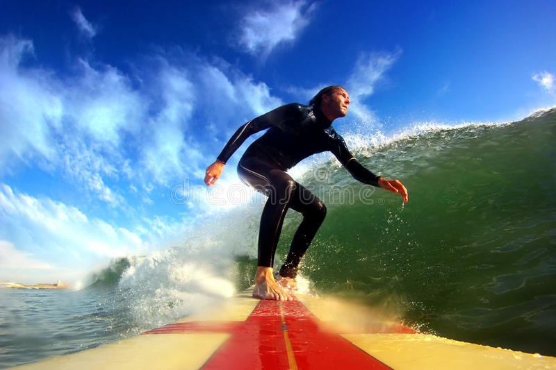 Longboard Surfing royalty free stock photos
