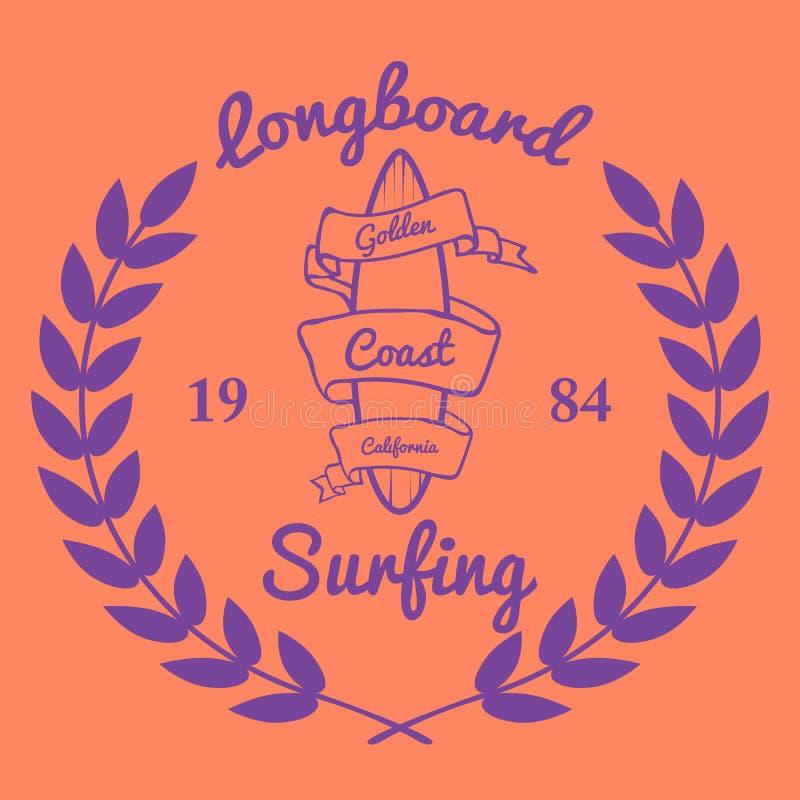 Longboard surfing typography, t-shirt graphics, vectors. Illustration vector illustration