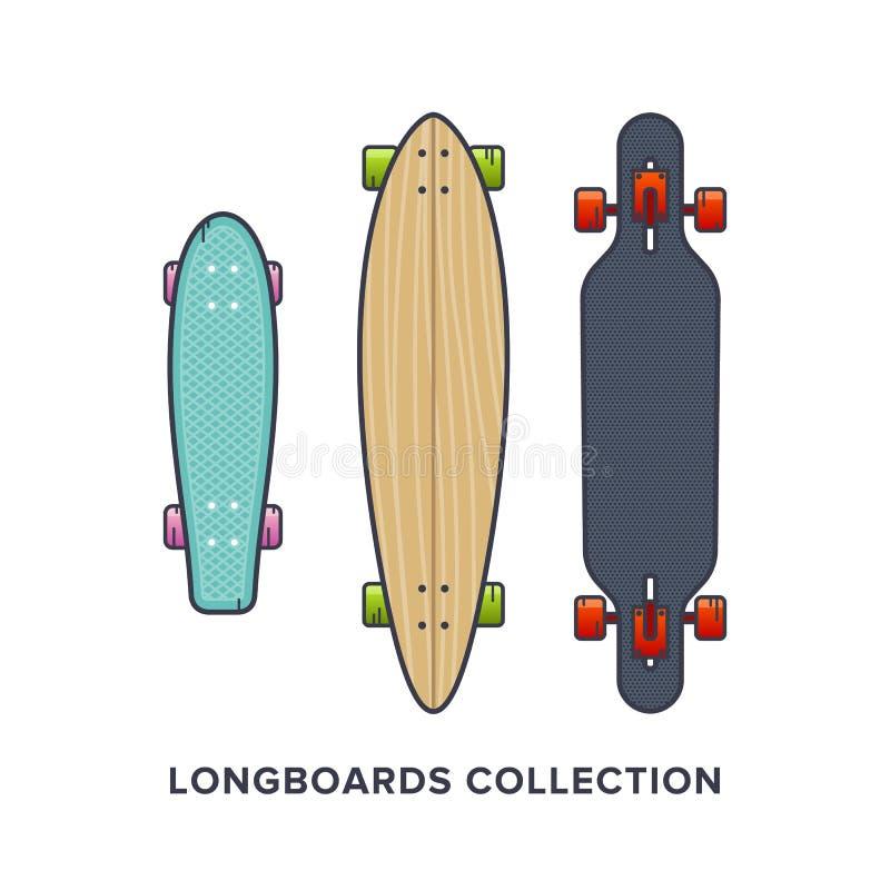 Longboards-Sammlung - Kreuzer fallen abwärts durch und schnitzen Vektorillustration in der flachen Art lizenzfreie abbildung