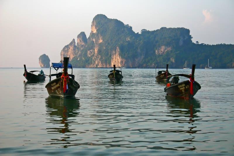 Longboats at Phi Phi Island royalty free stock image