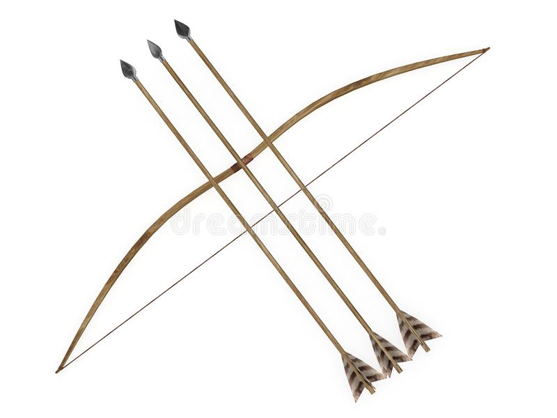 Longbow пересек 3 перевод стрелок 3d иллюстрация вектора