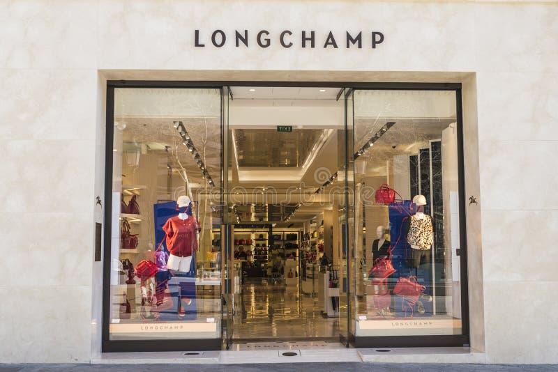 Longchamp shoppar, Barcelona royaltyfria foton