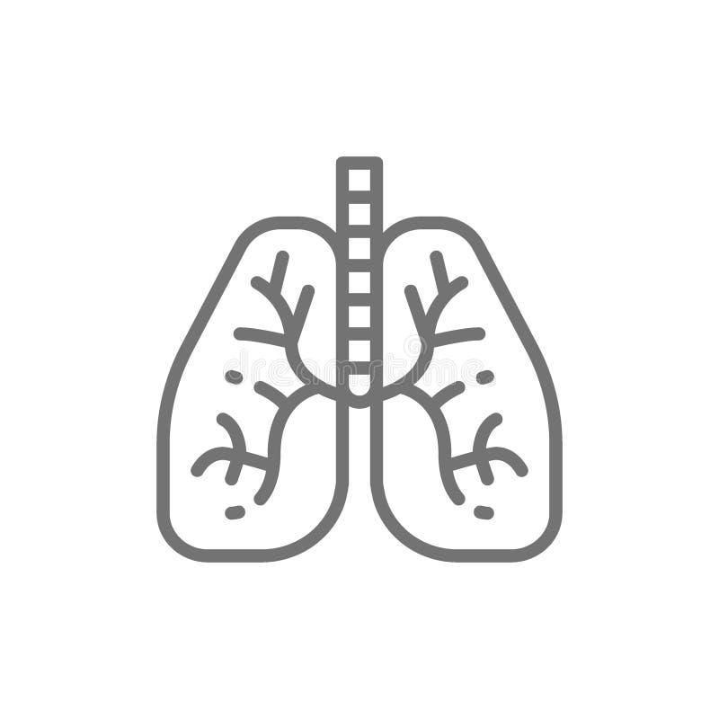 Longen, het menselijke pictogram van de orgaanlijn vector illustratie