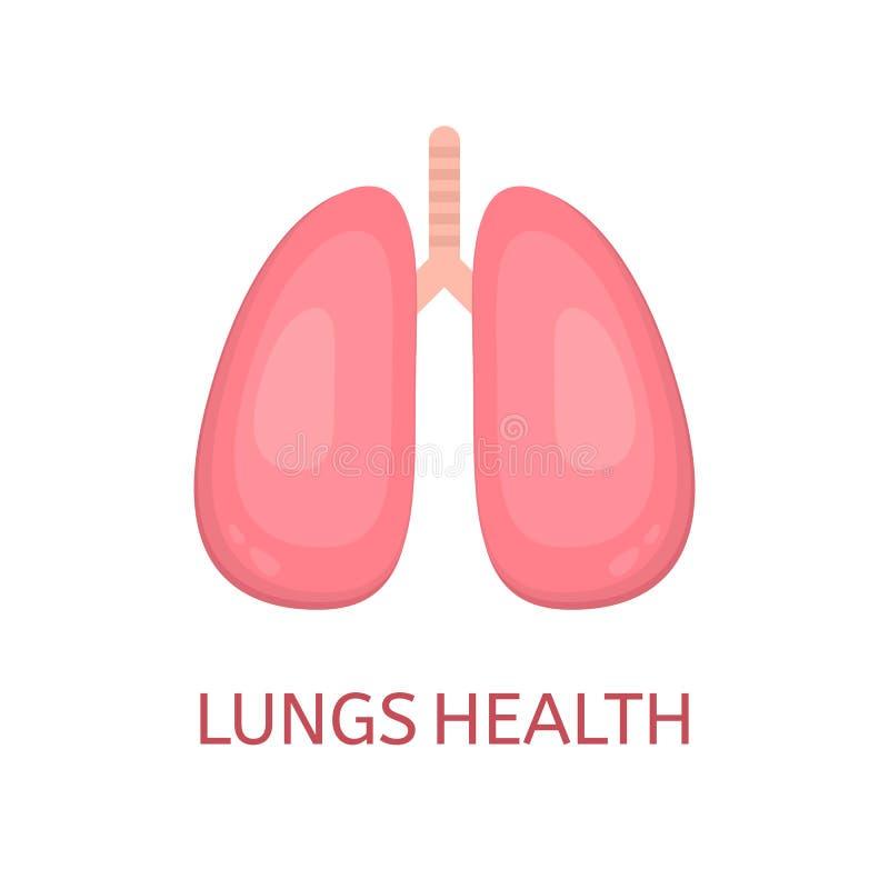 Longen in vlakke die stijl op witte achtergrond wordt geïsoleerd Het concept van de longengezondheid Menselijk Longenpictogram In stock illustratie