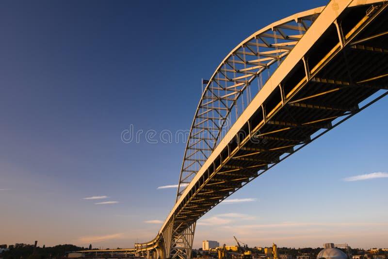 Longest arched bridge Fremont Portland Oregon Willamette River stock photo
