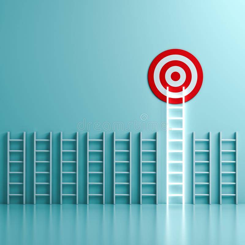 The longest neon light ladder reaching for the bright goal target dartboard the business creative idea concepts stock photos
