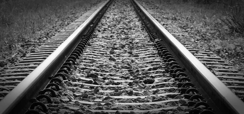 Longest railroad in monochrome style. Alone longest railroad in monochrome style stock photography