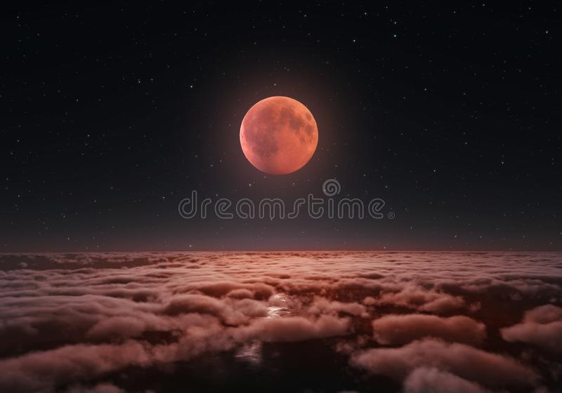 Longest total Lunar eclipse, blood moon 20178 stock illustration