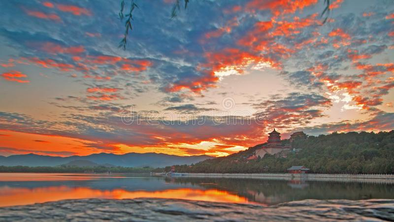 The Longevity Hill and the Kunming Lake under sunset. The Longevity Hill and the Kunming Lake in Summer Palace royalty free stock photography