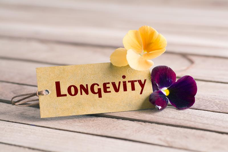 Longevity tag stock image