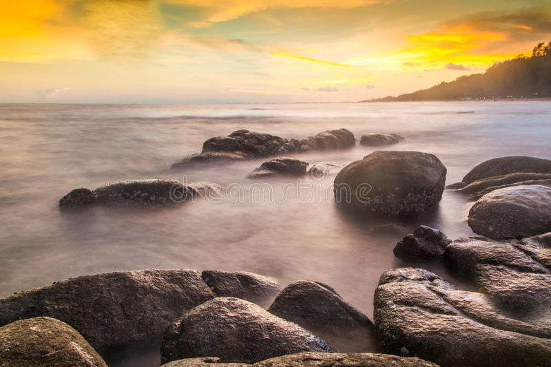 Longexposure Beautiful thailand sea of sunset. Sky royalty free stock images