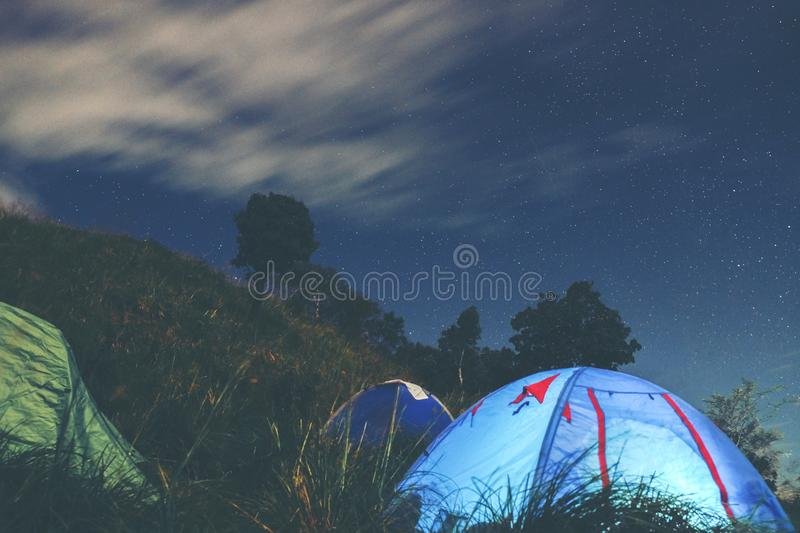 LongExposure Camping on the top of the mountain under the sky st. Ar royalty free stock photos